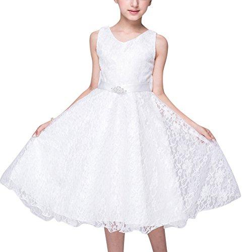 Qitun Bambine Matrimonio Abiti Da Damigella Cerimonia Senza Maniche Compleanno Partito Bimba Comunione Vestiti Abito Bianca 160CM/11-12Anni