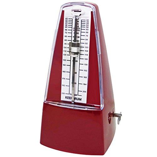 keepdrum GMPL RD mechanisches Metronom Taktgeber mit Glocke aufziehbar Rot