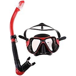 B Baosity Masque de Plongée avec Tuba Sec Silicone Étanche et Antibuée pour Natation Chasse sous Marine - Rouge, comme décrit