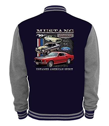 Ethno Designs - Ford Mustang Untamed - Hot Rod Veste College pour femmes et Hommes - Old School Rockabilly Retro Style, bleu marine,sportsgris, taille L