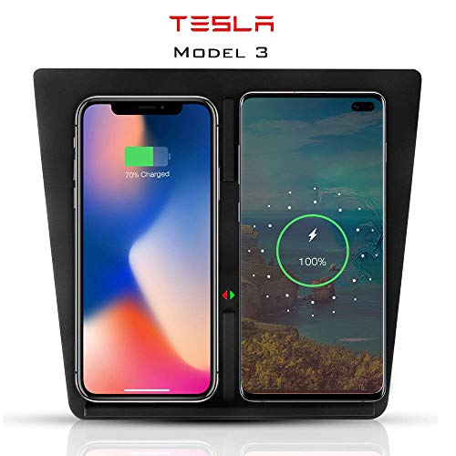 Dual Qi Wireless Ricarica Pannello per Tesla Model 3, telefoni cellulari base Ricarica Wireless Pannello Centrale e Console di Ricarica Rapida, per iPhone, Samsung, Android,Black