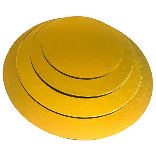 KITCHEN PARADISE Cake Board Rund 4er Set - Ø 20 + 25 + 30 + 35cm - Kuchenplatte Tortenunterlage Tortenplatte - Lebensmittelecht | Für Transport und Deko (Gold) Cake Board