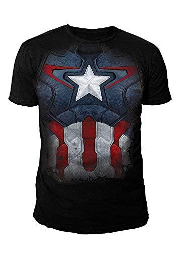 Marvel Comics - Captain America Herren T-Shirt - Suit (Schwarz) (S-XL) (XL)