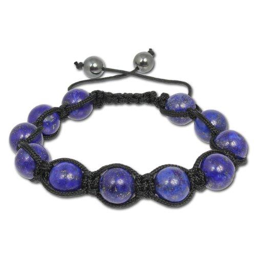 SilberDream Shamballa Armband Aventurin blau aus Steinkugeln und Hämatit-Kugel Verschluss SDA918