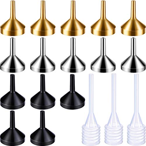15 Pezzi Metallo Mini Imbuto Piccolo con 3 Pezzi Mini Pipetta per Oli Essenziali, Bottiglia Spray per Profumi, Profumo, Liquido (Oro, Argento, Nero)