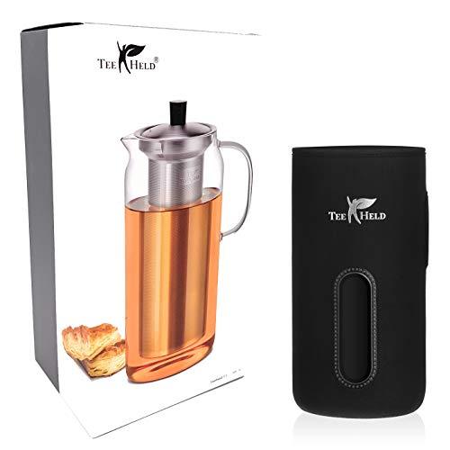 Teeheld F1 | Große Teekanne aus Glas 1,5 Liter | Abnehmbares Edelstahl-Sieb Einsatz | Neopren mit Magnetverschluß | Spülmaschinengeeignet