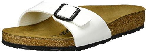 Birkenstock Madrid, Unisex-Adults Sandals, White (Weiß Lack), 7 UK (40 EU)