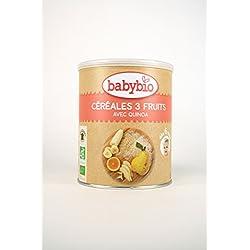 BabyBio - Papilla Cereales y 3 Frutas Babybio 220 gr 6m+