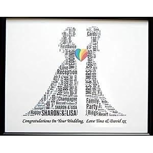 Neues personifiziertes homosexuelles weibliches lesbisches Hochzeits-Wort-Kunst-Entwurf (B) dargestellt in einem Glasfrontrahmen, schönes einzigartiges Geschenk u. Andenken verringertes Porto