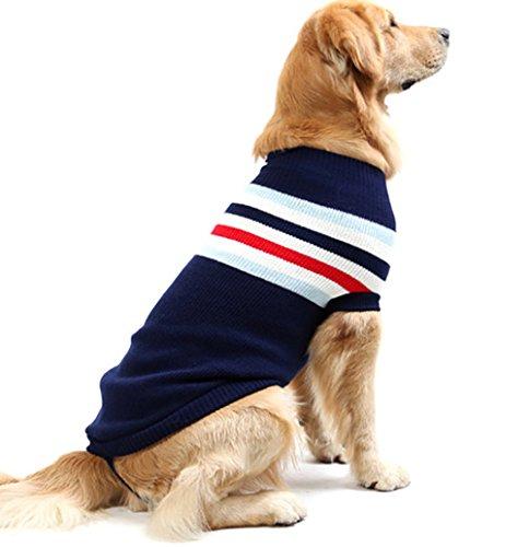 ASOCEA Rayas clásicas suéter Invierno Calor Mascotas Ropa Ropa para Perros para Perros Mediano y Grande Medio