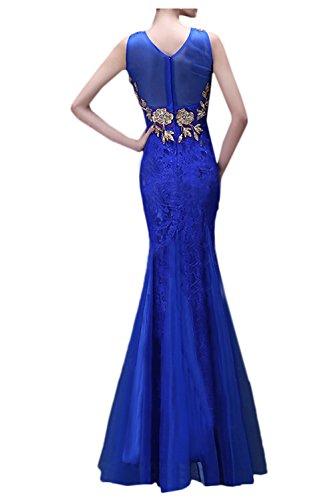 Gorgeous Bride Beliebt Meerjungfrau Spitze Tuell Lang Abendkleid Festkleid Ballkleid Royalblau