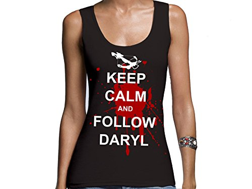 Tachinedas Kreativshop The Walking Dead Damen Tanktop mit Druck Keep Calm and Follow Daryl (L)