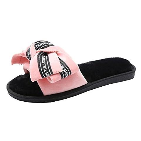 Chaussures Femme Claquette Rawdah Plat Avec Diapositives Flip Flop Bow Tie Lettre Shoes (40 EU, rose)