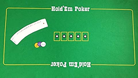HUGE TEXAS HOLD 'EM POKER FELT WITH PLAYING CARDS AND BLIND SET