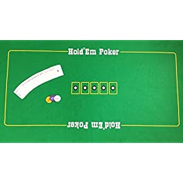 Grande feltro da poker Texas Hold'Em con carte da gioco e blind set