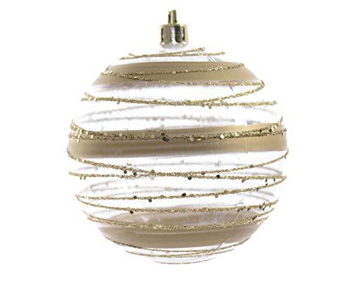 12 Christbaumkugeln Kunststoff 8cm Streifen transparent bruchfest Motive Gold Weihnachtskugeln 80mm Baumschmuck Dekoration
