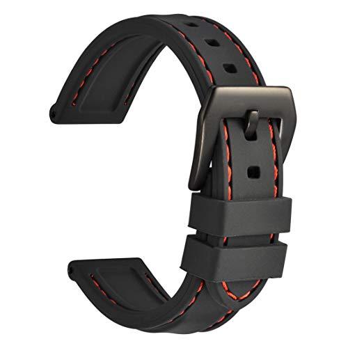 WOCCI 22mm Cinturino Orologio in Silicone con Fibbia Nera, Impermeabile e...