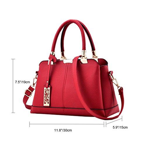 Vbiger PU Leder Schultertasche Schick Kuriertaschen Beiläufig Handtasche Modische Umhängetasche für Frauen Rot