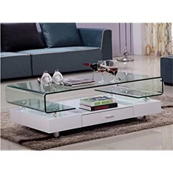 Glass Top White Gloss Coffee Table Chrome Legs With Drawer Living Room