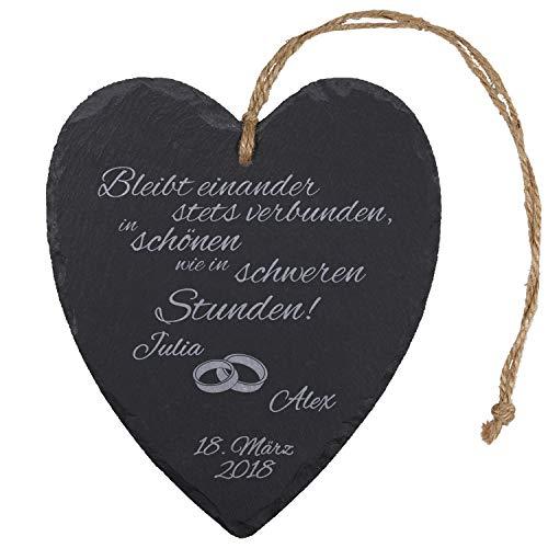 Schieferherz zur Hochzeit mit Gravur Ringe – romantische Hochzeitsgeschenke für Brautpaare – Geschenke zum Hochzeitstag
