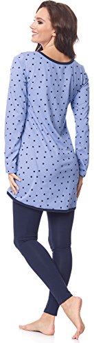 Be Mammy Damen Langarm Pyjama mit Stillfunktion BE20-178 Blau-Punkten-Navy