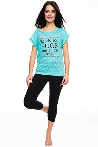 Rossli SAL-PY 1065 Pyjama Deux Pieces Feminin Bicolore Top Qualité mynthe-noir