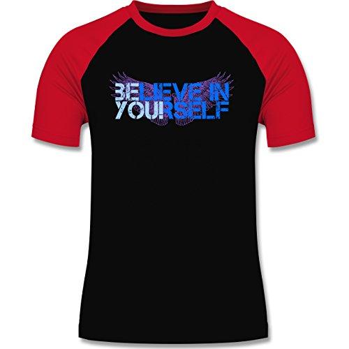 Statement Shirts - BElieve in YOUrself - zweifarbiges Baseballshirt für Männer Schwarz/Rot