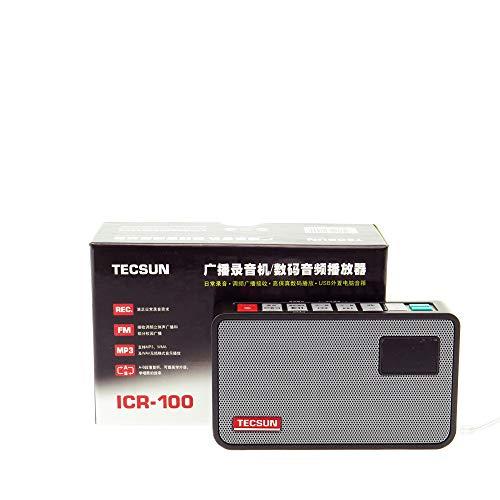 Tecsun ICR-100 4-in-1 Taschenradio UKW-Radio mit ETM-Abstimmung, Digital-Recorder, MP3-Player mit eingebautem Micro SD Karteneinschub & HiFi-Lautsprecher mit DSP-Bass für Desktop & Laptop, (schwarz) - Desktop Mp3-player