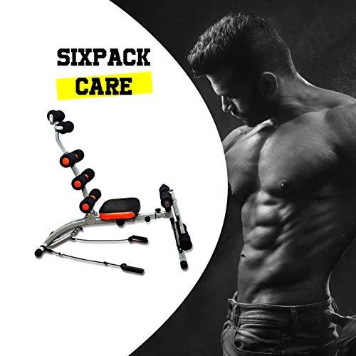 CloverFitness Sixpack Care Banco Fitness para Abdominales, con tensores, Multiples Funciones. Ejercicios para piernas y glúteos, Adultos Unisex, Negro y Rojo, Talla única