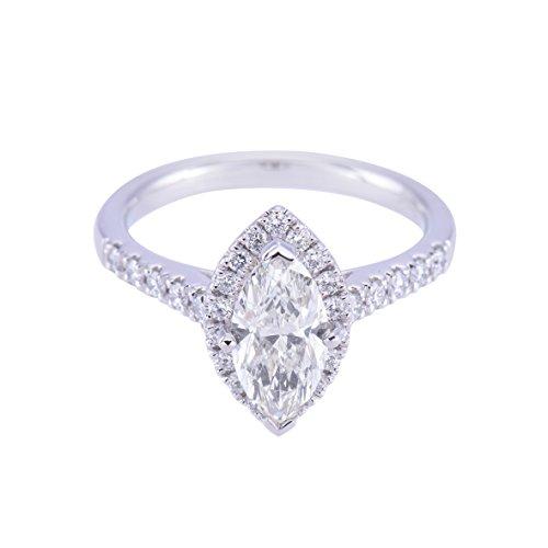 925Argento Sterling zirconi taglio marquise anello di fidanzamento 1.00ct con Halo Mount, Argento, 17,5, cod. JC-32_Q 1/2