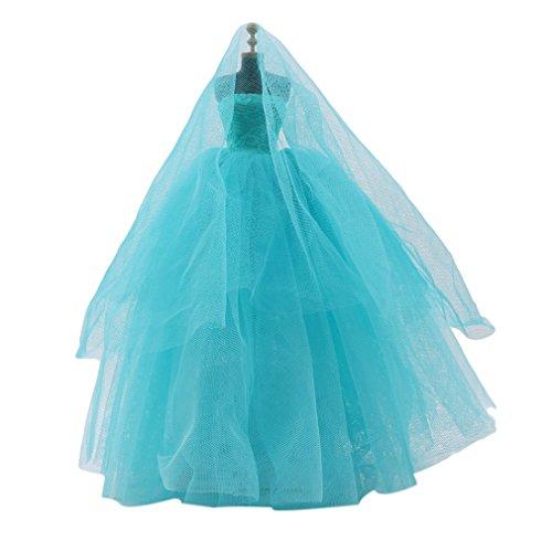 SEVENHOPE Puppe Kleid Brautkleid mit Schleier, Prinzessin Kleid für Mädchen Geschenk (hellgrün)