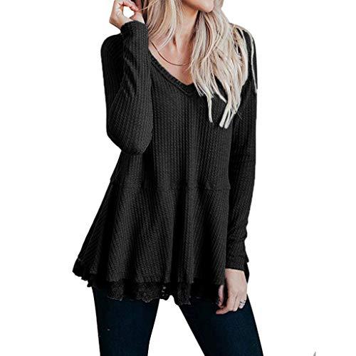 Magliette Donna  NnuoeN T-Shirt a Manica Lunga Donna Tops Orlo Irregolare Manica Cime Camicie Elegante Camicetta Blusa Sciolto Estate Casual Tinta Unita