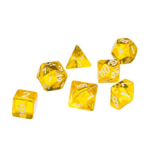 7x Acryl (7x Roten D4 D6 D8 D10 D12 D20 Würfel-Set Für Dungeons And Dragons Spiel - Gelb, one size)