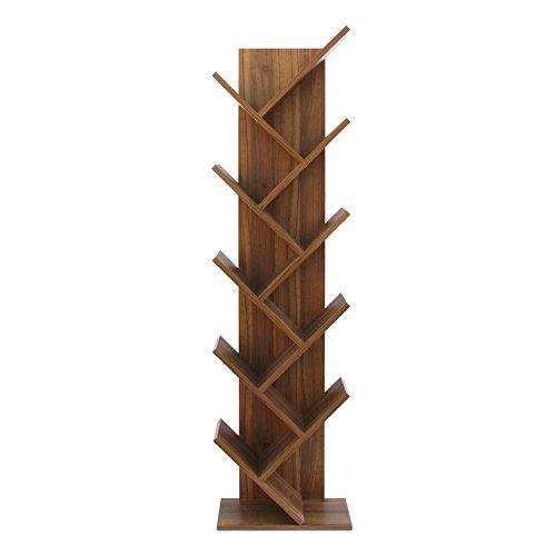 Rebecca mobili libreria scaffale 10 ripiani legno stile contemporaneo marrone ufficio salotto (cod. re6029)
