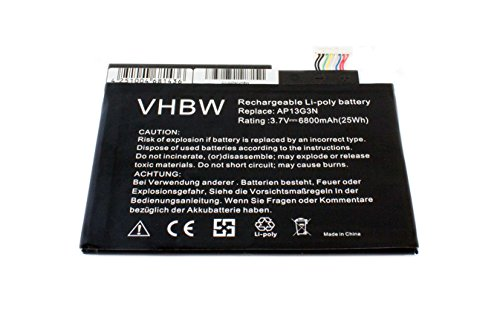 vhbw Li-Polymer Akku 6800mAh (3.7V) für Netbook Pad Tab Tablet Acer Iconia Tab W3, Iconia Tab W3-810, ZEIV4 wie AP13G3N.
