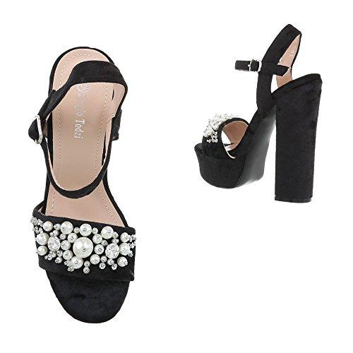 Ital-Design High Heel Sandaletten Damenschuhe High Heel Sandaletten Pump High Heels Schnalle Sandalen & Sandaletten Schwarz L1070