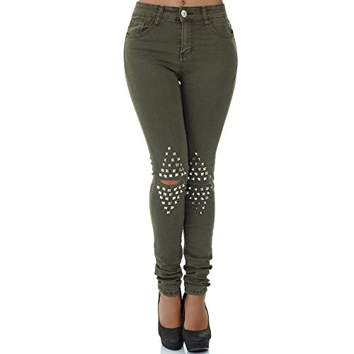 Skinny Nieten Jeans (malucas Damen Jeans High Waist Hose Röhrenjeans Skinny Röhrenhose Slim Fit Stretch, Größe:38, Farbe:Khaki)