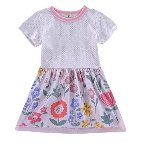(IZHH Kinder Kleider, Kleinkind Baby Kurzarm Mädchen Cartoon Blumen Print Polka Dot Print Spitzenkleid Outfits Kleidung 18M-6Y Mesh-Stitching Dress(Rosa,5T))