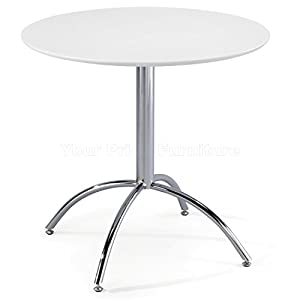 41%2Bcq4FTPhL. SS300  - Kimberley Dining Table With Chrome Metal Legs - Kitchen Cafe Bistro Style Small Round Table Choice of White or Natural (White)