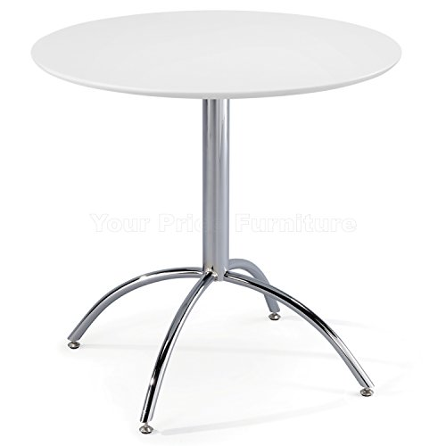 Kimberley Dining Table With Chrome Metal Legs – Kitchen Cafe Bistro Style Small Round Table Choice of White or Natural (White)