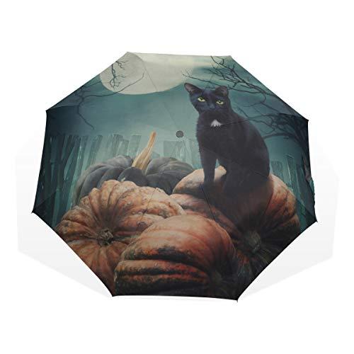 Zauberwald ist nachts beängstigend Anti-UV-Kompakt 3-Fach Kunst Leichte Klappschirme (Außendruck) Winddicht Regen Sonnenschutzschirme Für Frauen Mädchen Kinder ()