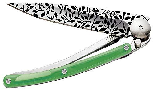 Couteau de Poche Pliant Ultra léger avec Clip Ceinture - Version Tatoos Vert 27g - Lame Fine et tranchante - Motif Nature - en Acier Inoxydable - Design élégant et Moderne - Lame 8 cm