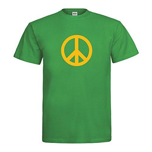 MDMA T-Shirt Peace Symbol N14-mdma-t00661-93 Textil kellygreen / Motiv gelb Gr. L (Symbol Gelb T-shirt)