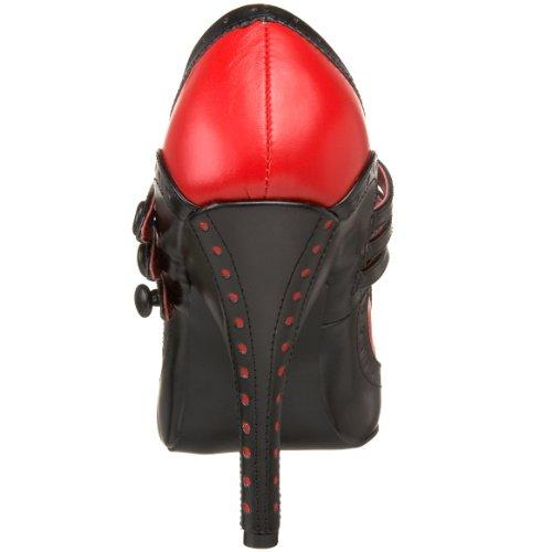 Bordello Burlesque-Pumps Tempt-10 Schwarz/Rot