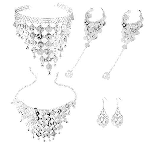Perlen Bauchtanz Kostüm - IPOTCH Bauchtanz Kostüm Set, Münze Pailletten Halskette Ohrringe Stirnband Armbänder mit Ringe, Silber