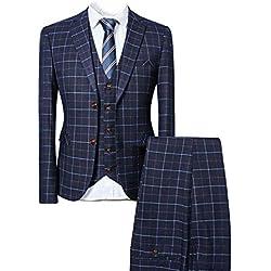 CALVINSUIT 3 Piezas cuadros Traje Dos botones de la boda chaqueta esmoquin Pantalones Chaleco