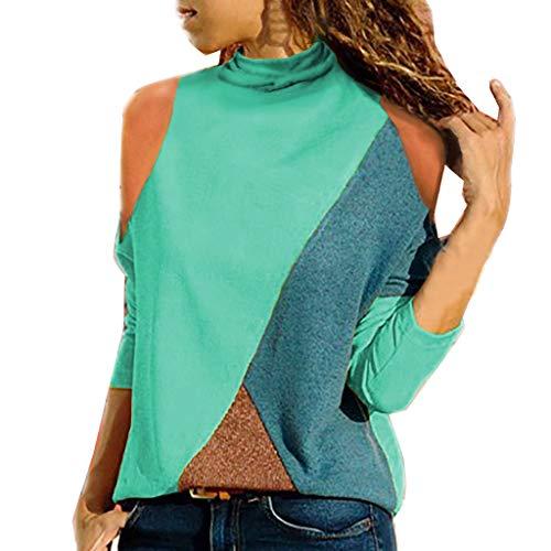 c0f6d76bf8 Mujer Polyester Ajustado Blusa Moda Patchwork Casual