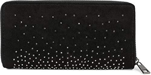 styleBREAKER Damen Geldbörse mit Strass Nieten, Reißverschluss, Portemonnaie 02040111, Farbe:Schwarz