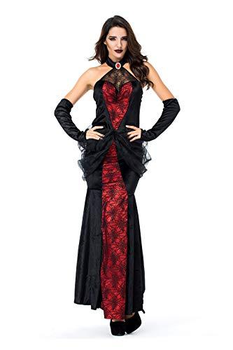 Preisvergleich Produktbild VENIMASEE Spinnen-Königin-Vampirs-Kleid der Frauen Halloween Cosplay Kostüm-Kostüm