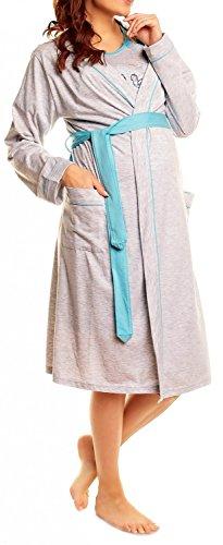 Happy Mama Femme Maternité Set Nuisette et allaitement et peignoir. 385p Turquoise